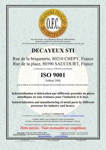 iso 9001 DECAYEUX STI-C40-2008-04-80
